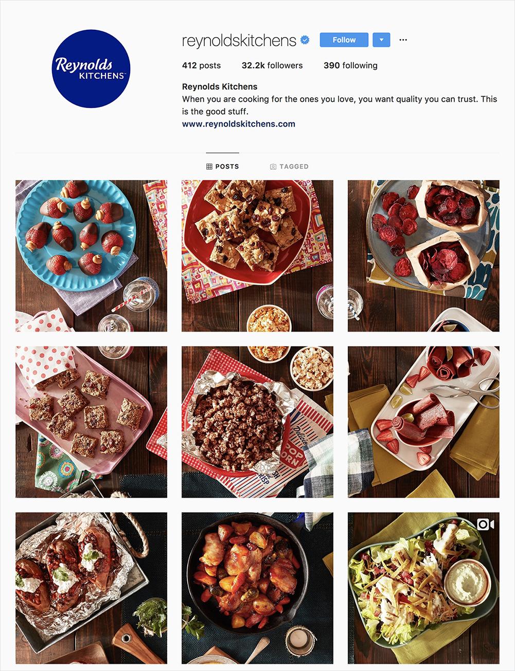 reynolds kitchen instagram feed showcasing a spread of food