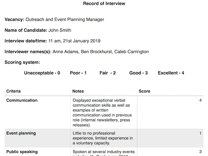 record of interview example screenshot
