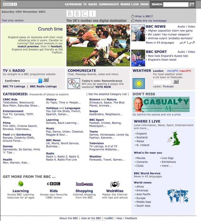 screenshot of BBC homepage 2001