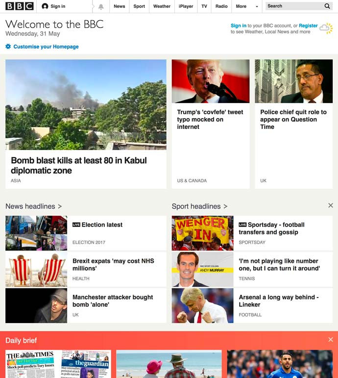screenshot of BBC homepage 2017