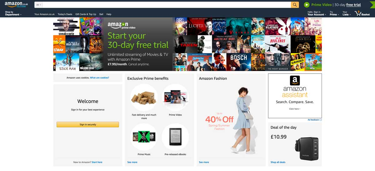 screenshot of amazon homepage 2017