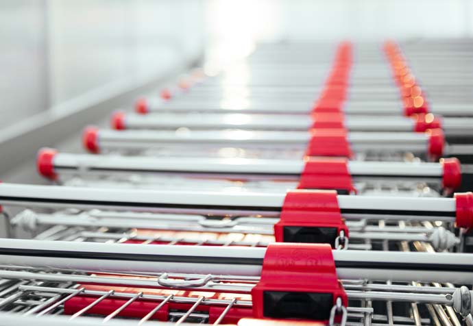 shopping trolleys lined up