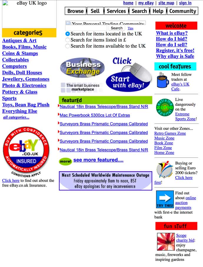 eBay homepage screenshot 2000