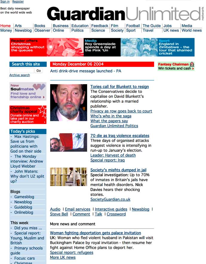 screenshot of guardian website 2004