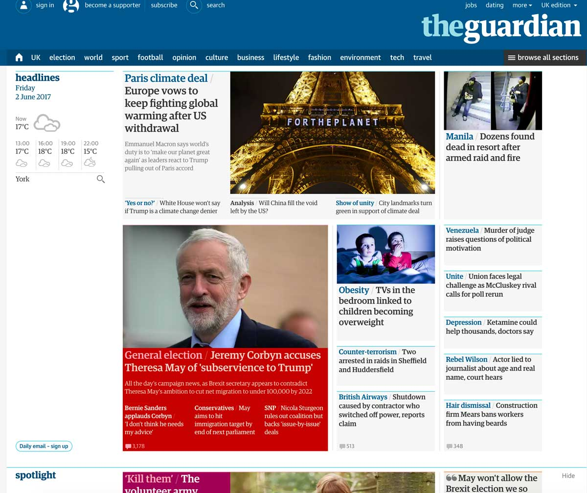 screenshot of guardian homepage 2nd june 2017