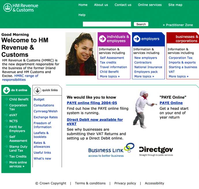 screenshot of HMRC website in 2005
