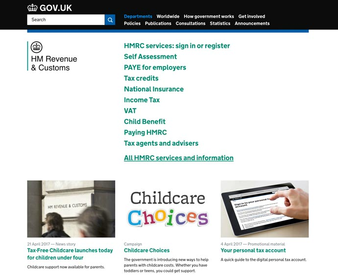 screenshot of HMRC homepage 2017