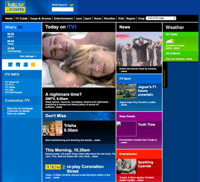screenshot of ITV 2004 homepage