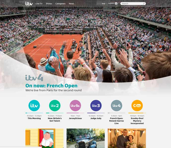 screenshot of ITV homepage in 2017