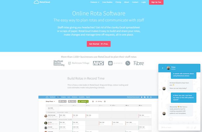 RotaCloud homepage showing live chat window in corner
