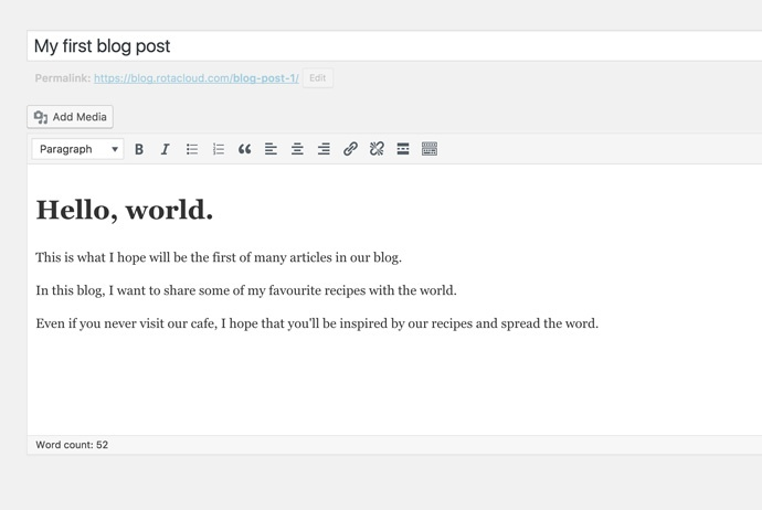 screenshot of first wordpress blog post