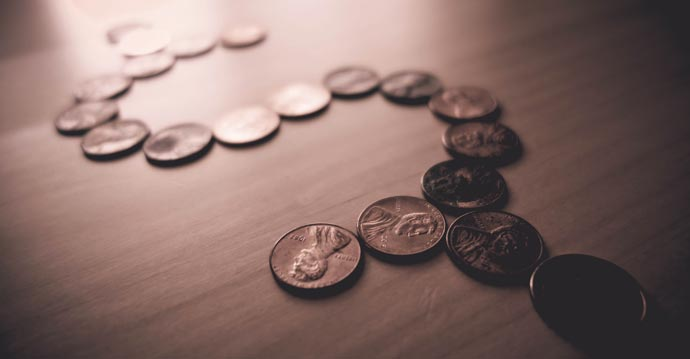 line of coins