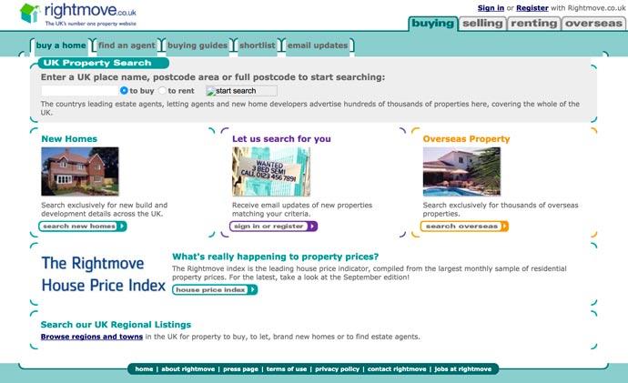 Rightmove website screenshot 2004