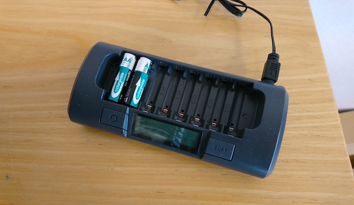 two batteries in a rechargable battery dock