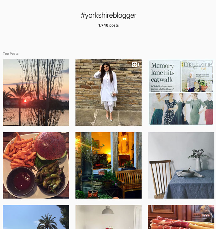screenshot of instagram for hashtag yorkshireblogger