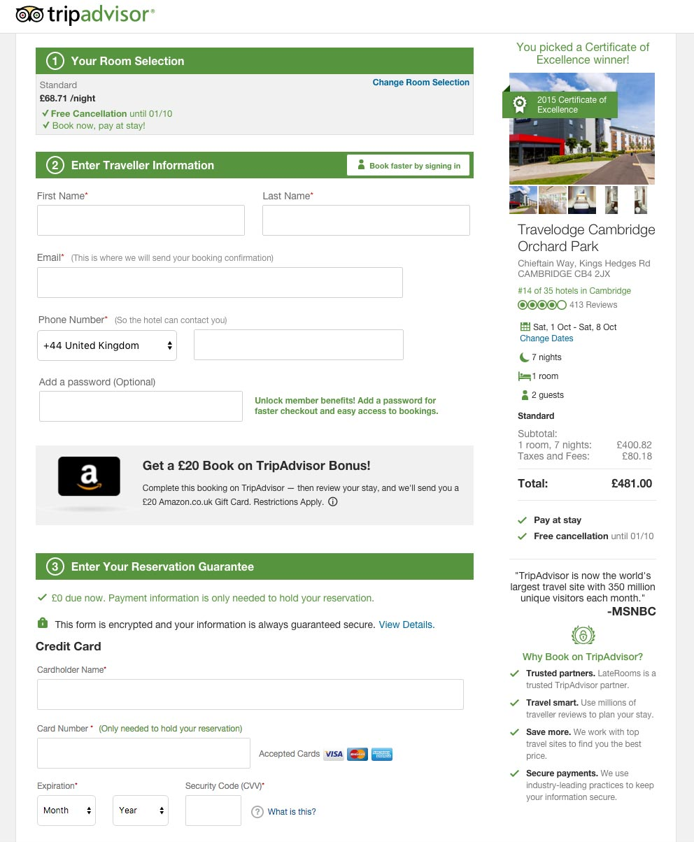 tripadvisor instant booking page screenshot