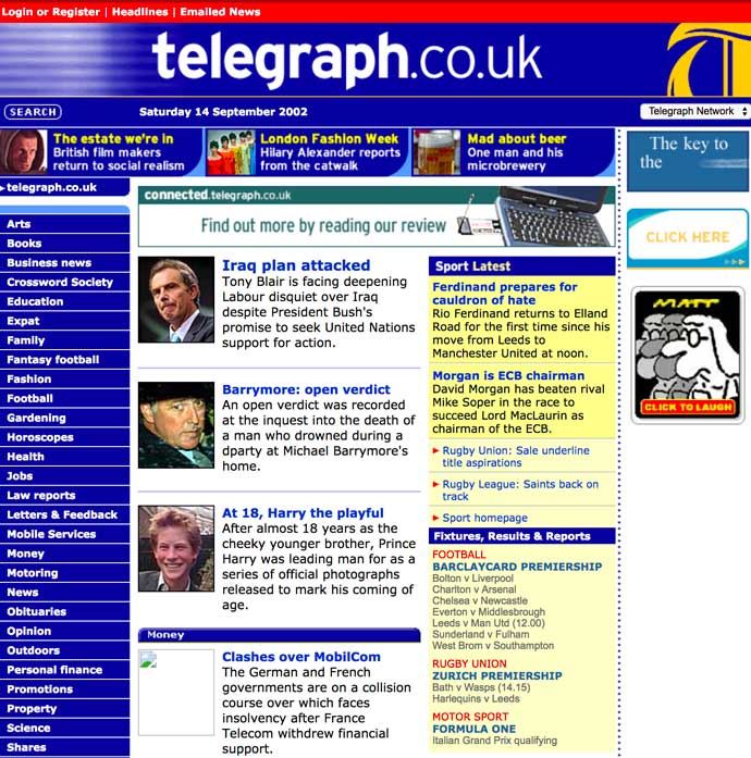 screenshot of telegraph website 2002
