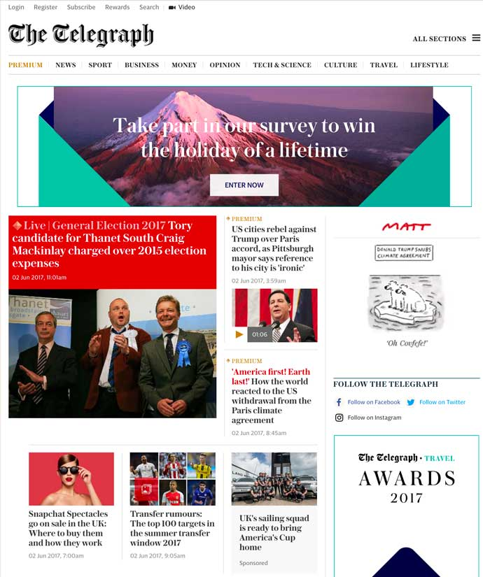 screenshot of telegraph homepage 2017