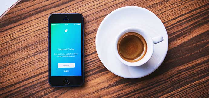 Twitter for business at a desk